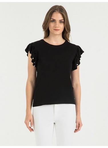 Loft Kolları Volanlı Tişört Siyah